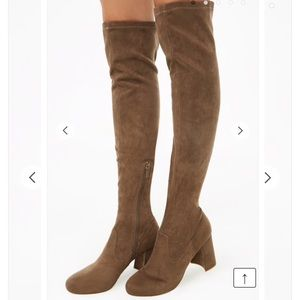 Faux suede tan brown over the knee boots